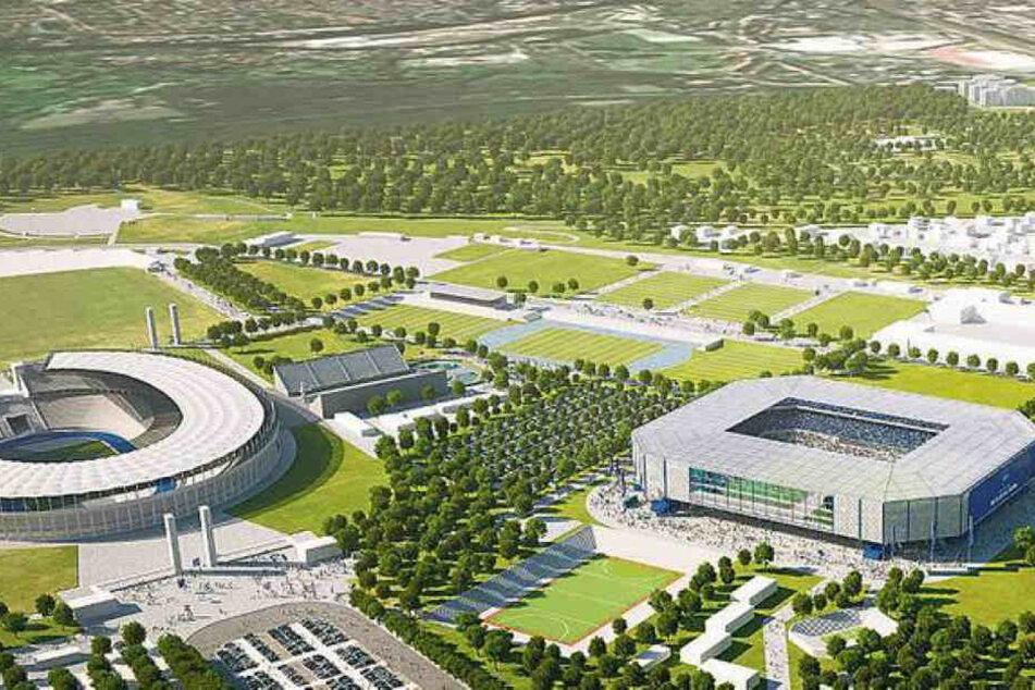 So könnte das neue Stadion (re.) im Olympiapark aussehen.