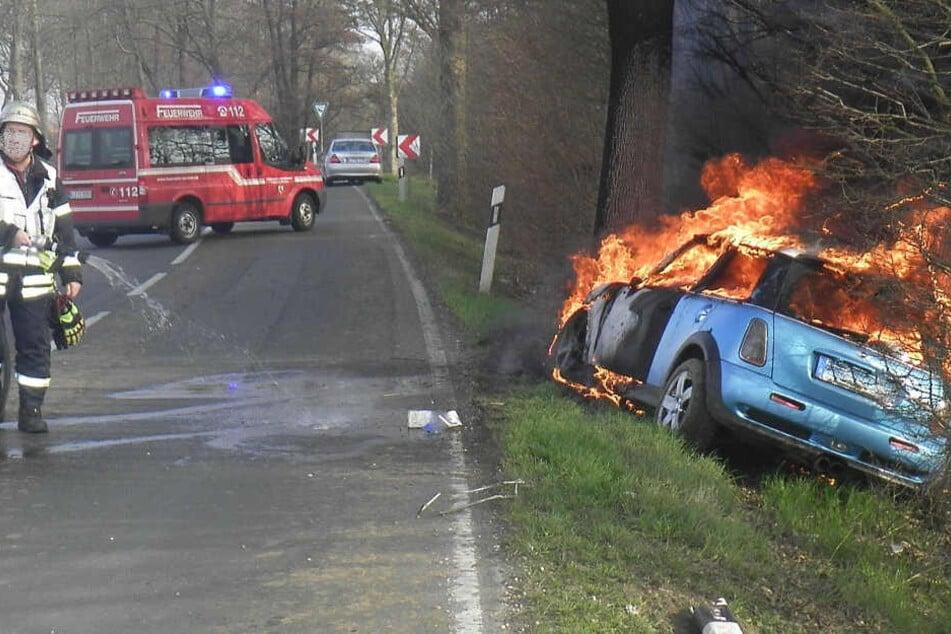 Bevor der Mini Cooper Feuer fing, konnten Ersthelfer die schwer verletzte Fahrerin aus dem Auto befreien.