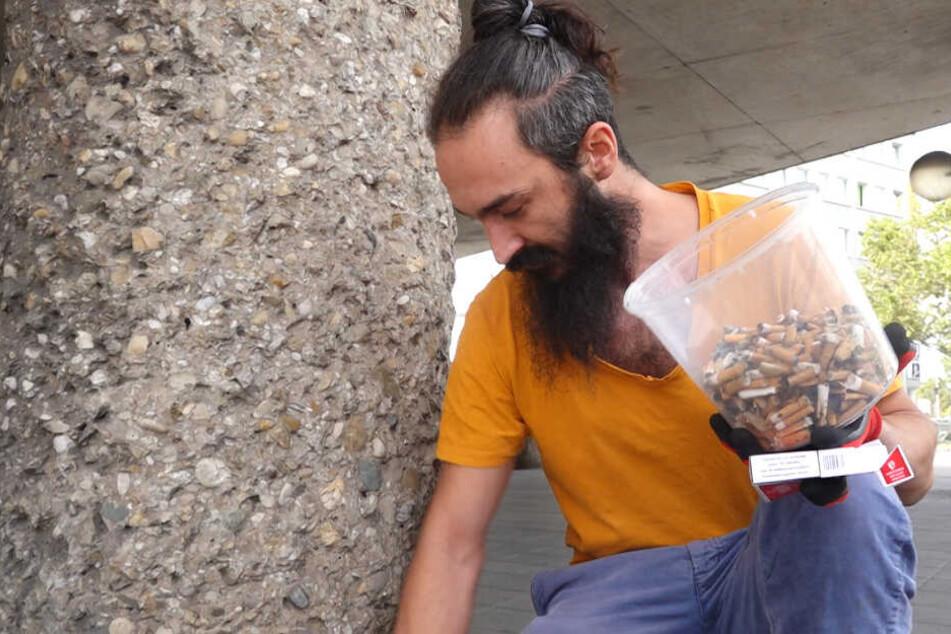 Hundert Stummel in 5 Minuten. Alex Cio hat die Straßen bald von einer Million Zigaretten-Reste befreit.