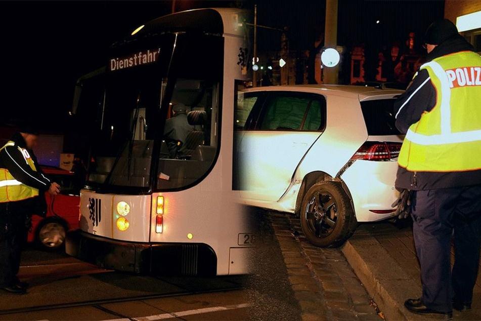 Tram kollidiert mit Pkw: Bahnverkehr Richtung City eine Stunde gesperrt