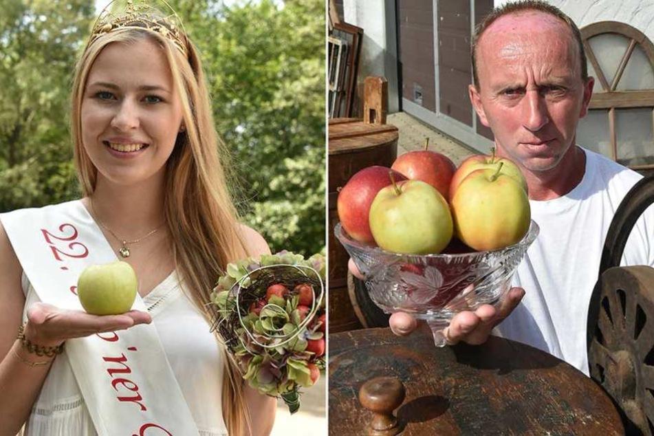 Gubens mittlerweile Ex-Apfelkönigin Antonia und der gescheiterten Mitbewerber um das Amt, Marko Steidel.