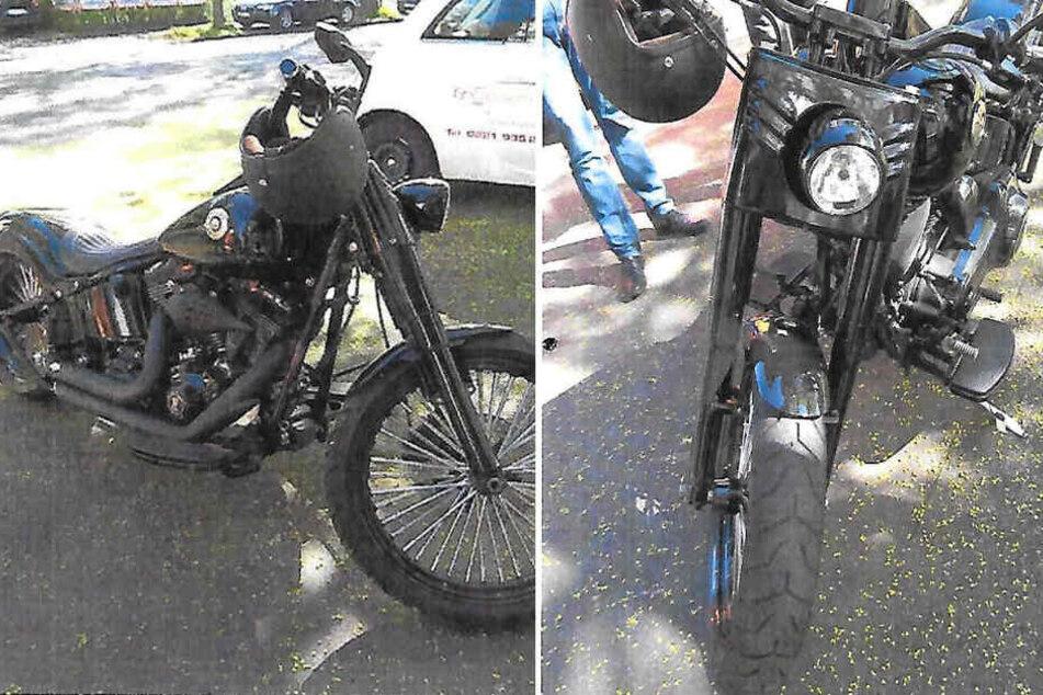 Die Polizei sucht mit diesen Bildern nach der Harley.