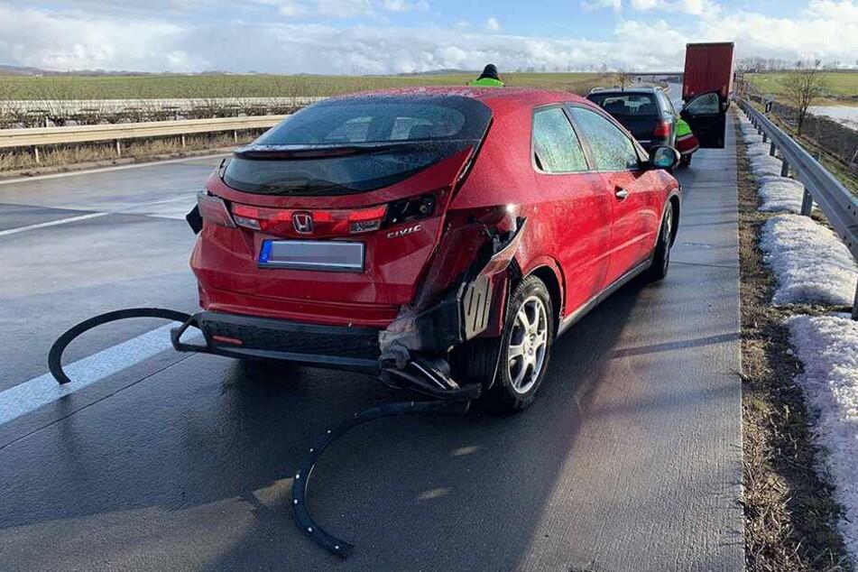Der Honda Civic wurde in den Unfall verwickelt.