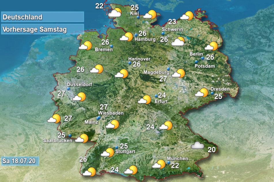 Hier und da fallen am heutigen Samstag ein paar Schauer, sonst freundlich bei bis zu 28 Grad.