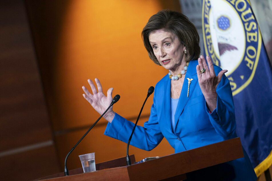 House Speaker Nancy Pelosi speaks at a press conference on the lower chamber's vote to raise the debt limit through early December.