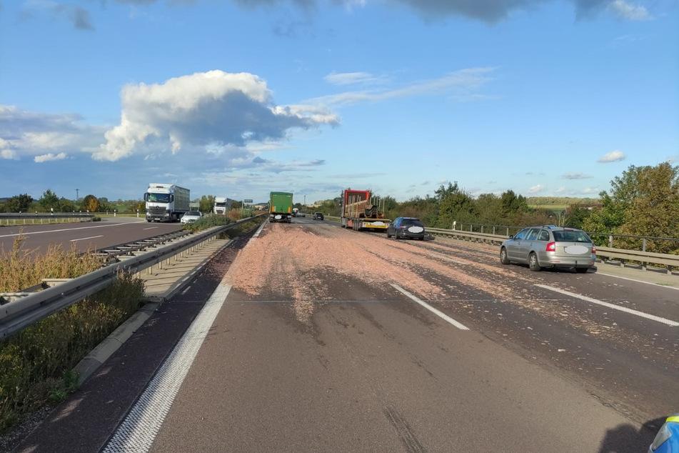 Nach einem Bremsmanöver hat ein Lkw auf der A14 seine Ladung verloren – die Schlachtabfälle verteilten sich auf der Autobahn.