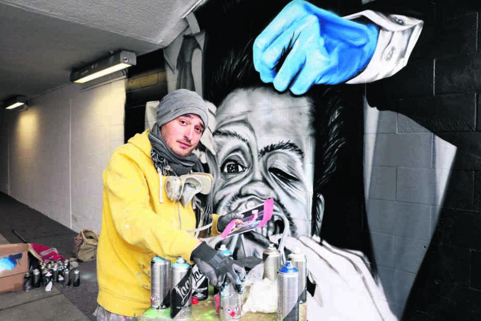 """Dieses Motiv des Künstlers """"ZONE56"""" aus Glauchau zeigt einen unsicheren  Wähler."""