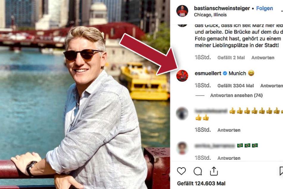 Spaß unter Ex-Teamkollegen: Auf Schweinsteigers Frage, was denn die Lieblingsstädte seiner Follower wären, antwortet Thomas Müller mit der passenden Antwort: München.
