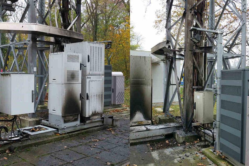 Kabel durchtrennt, Schaltkästen angezündet - In der Nacht wurde auf den BOS-Funkturm in Leutzsch ein Anschlag verübt.