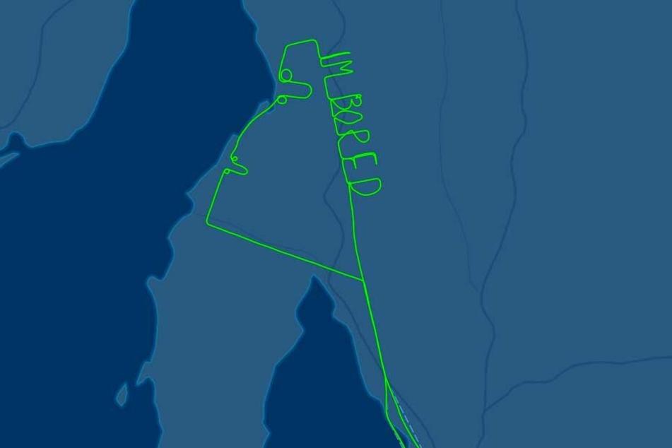 """Bei Flightaware ist der Schriftzug auf dem Flugradar """"I M BORED"""" - mir ist langweilig - zu sehen."""
