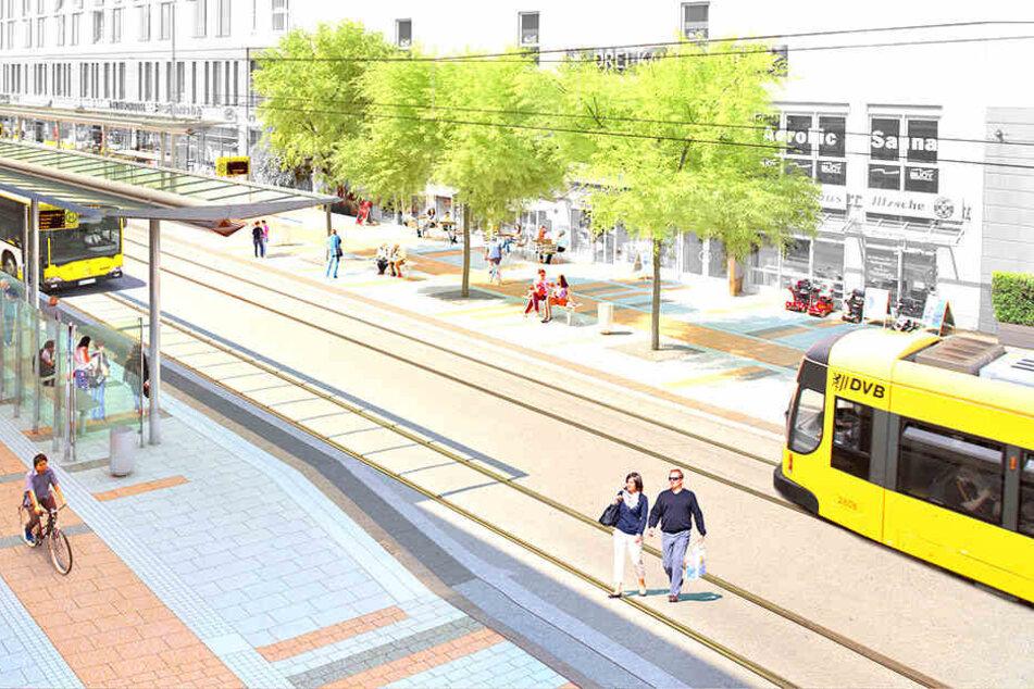 """Bahn frei für Fußgänger! So schön wird der Boulevard an der """"Kesselsdorfer"""""""