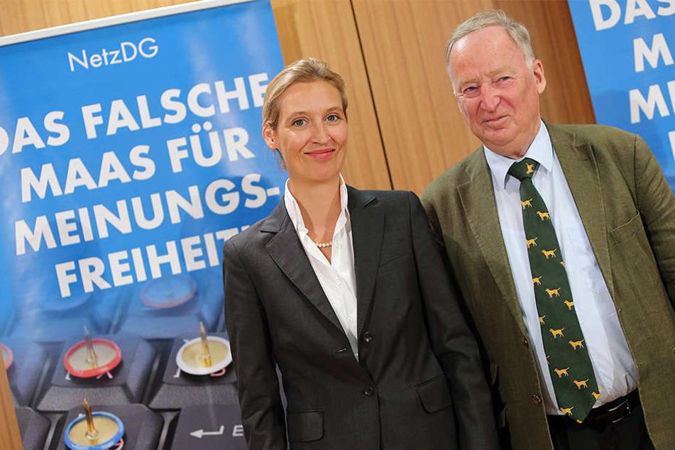 Die Parteispitze (v. li.) Alice Weidl und Alexander Gauland macht gute Miene. An der Veranstaltung werden die AfD-Politiker jedoch nicht teilnehmen.