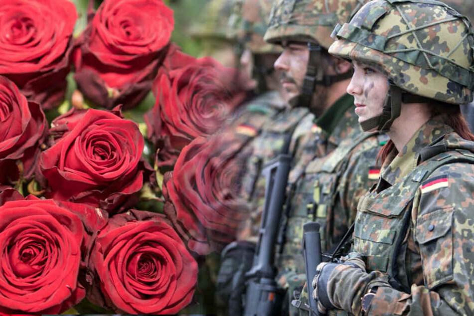 Mit Nelken und Rosen wirbt die Bundeswehr um Frauen. (Bildmontage)