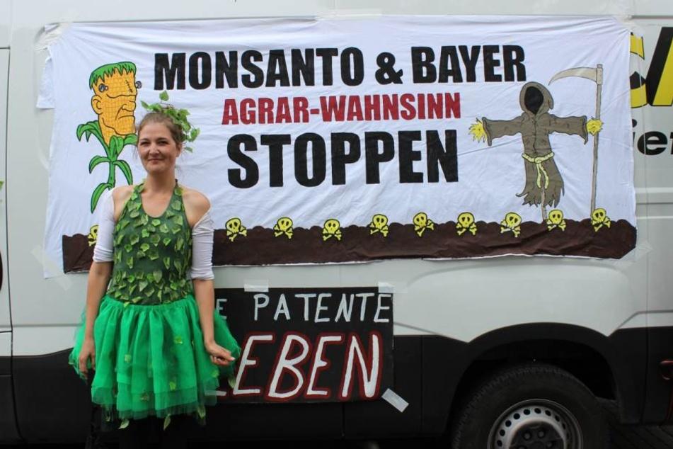 """Jacqueline Kardel beim """"Marsch gegen Monsanto"""" am vergangenen Wochenende."""