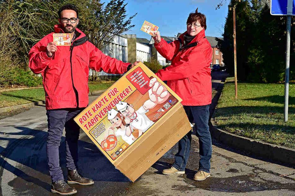 Die Gewerkschafts-Sekretäre Thomas Lissner (37) und Ute Leibner (60) fordern von Chemnitzer Bäckereien höhere Löhne.