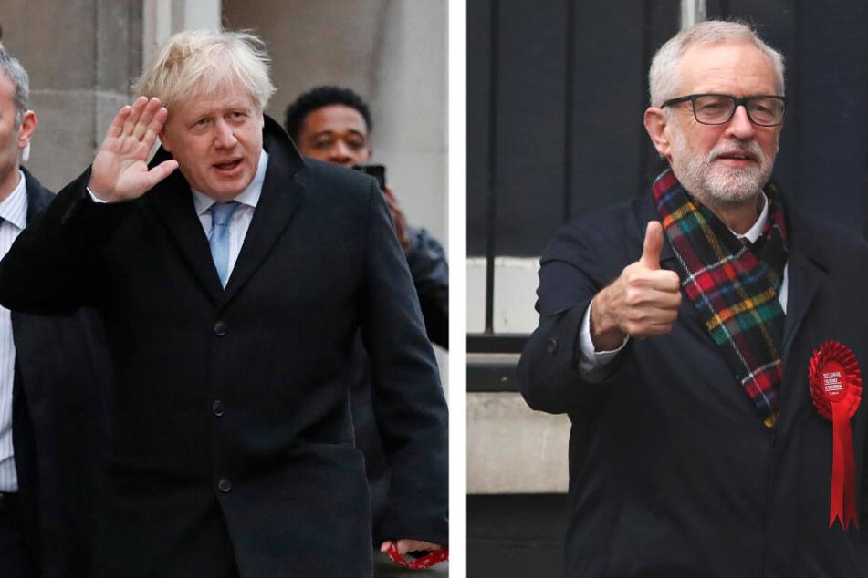 Premierminister Boris Johnson von der Conservative Party und rechts seinen Herausforderer Jeremy Corbyn, Vorsitzender der Labour Party begaben sich am Donnerstag zum Wahllokal.
