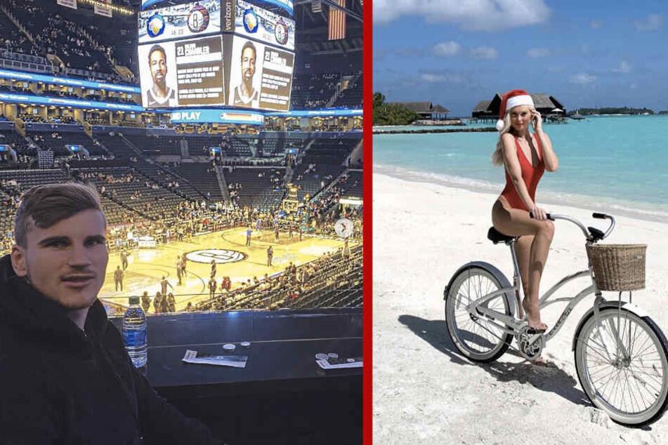 Timo Werner (23) war mit Paula in New York, Marcel Sabitzers Freundin Katja Kühne (r.) spielte Weihnachtsfrau auf den Malediven.
