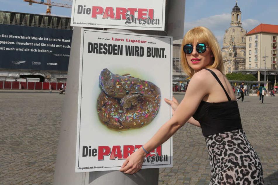 """2015 stellte sich Lara Liqueur als Spaßpolitiker für """"Die Partei"""" zur  Oberbürgermeisterwahl."""