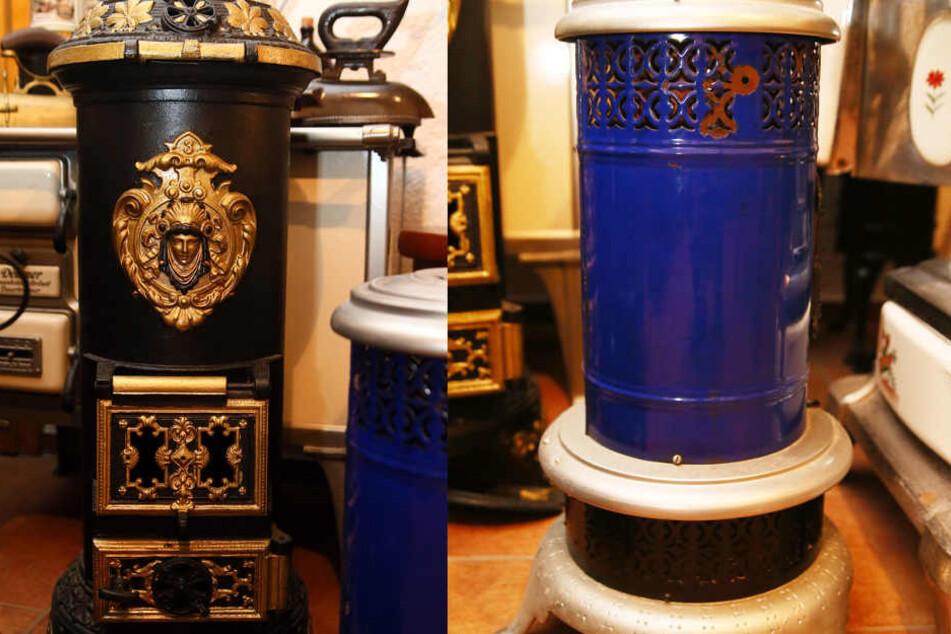 Links: Ein schmucker Regulierofen nebst einem blauen Petroleumofen aus den Jahren rund um 1920.