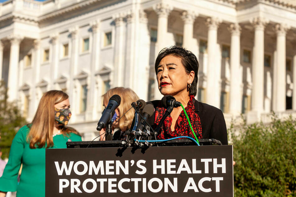 Rep. Judy Chu, primary author and sponsor of the Women's Health Protection Act, speaks at a press conference ahead of a US House vote.
