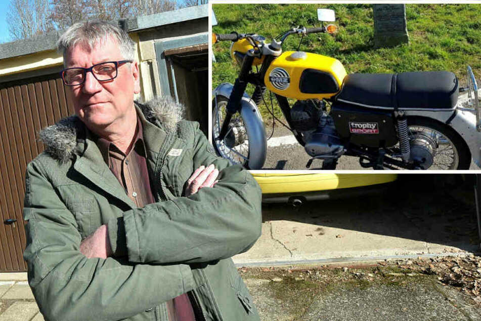 Dem Großschönauer Jürgen Bollmann (60) wurde im Februar diese seltene MZ ETS 125 aus der Garage gestohlen. Bis heute blieb sie verschwunden.