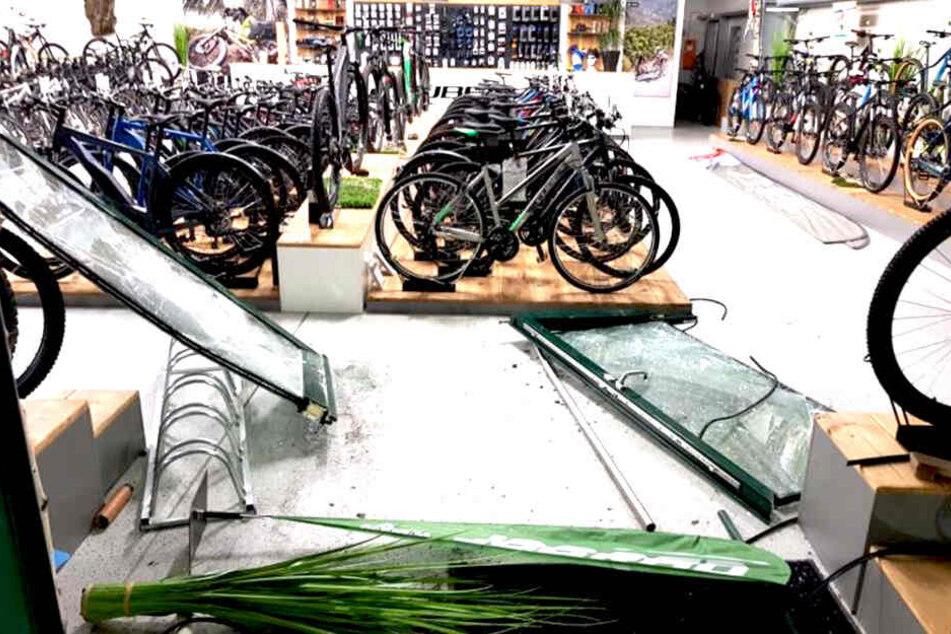 Mann bricht mit geklautem Auto in Fahrradladen ein: Kaum zu glauben, wo die Polizei ihn findet