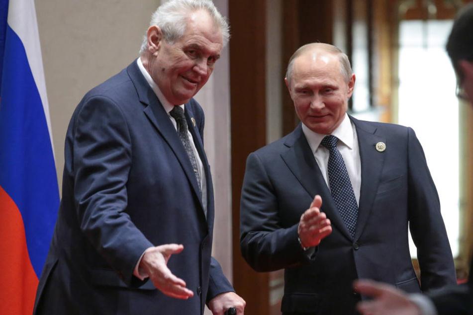Der tschechische Präsident Milos Zeman  mit seinem russischen Kollegen Wladimir Putin in Peking.