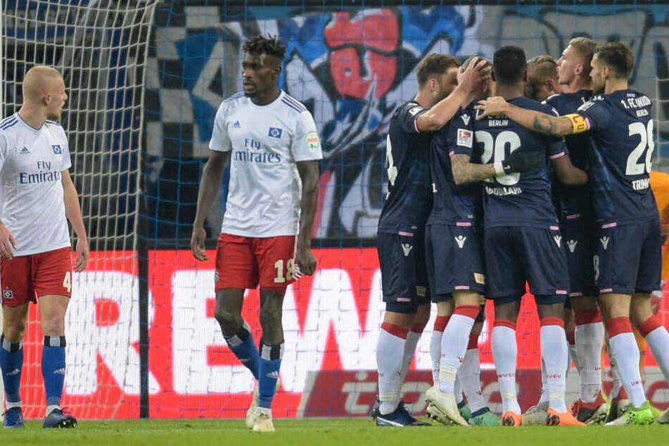 Union bejubelt das zwischenzeitliche 1:0 im Hinspiel beim HSV.