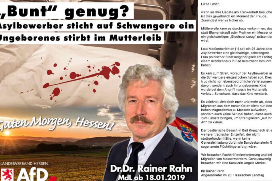 Der Facebook-Screenshot zeigt die Grafik sowie den Text von Rainer Rahn.