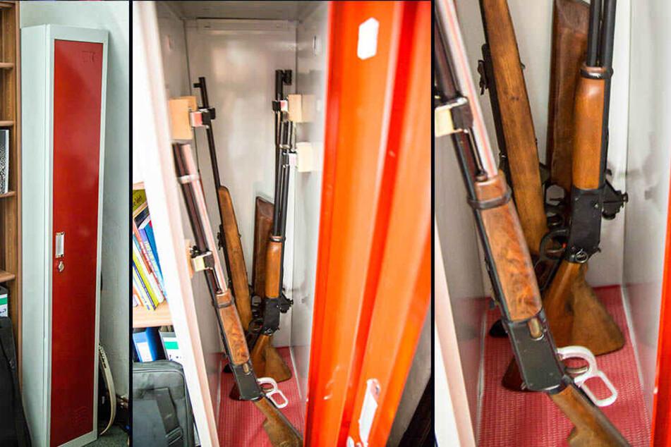 Aus diesem massiven Waffenschrank klauten die Einbrecher drei Luftgewehre.