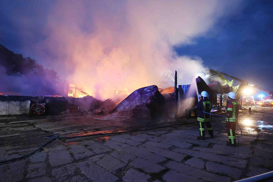 In den frühen Morgenstunden war der Brand gelöscht. Der Vierseitenhof ist nahezu komplett niedergebrannt.