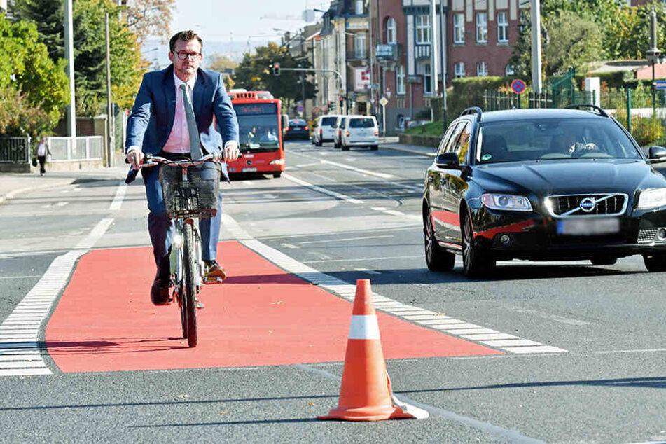 Neues Sicherheitskonzept: Dresdens Radler sehen jetzt immer öfter Rot