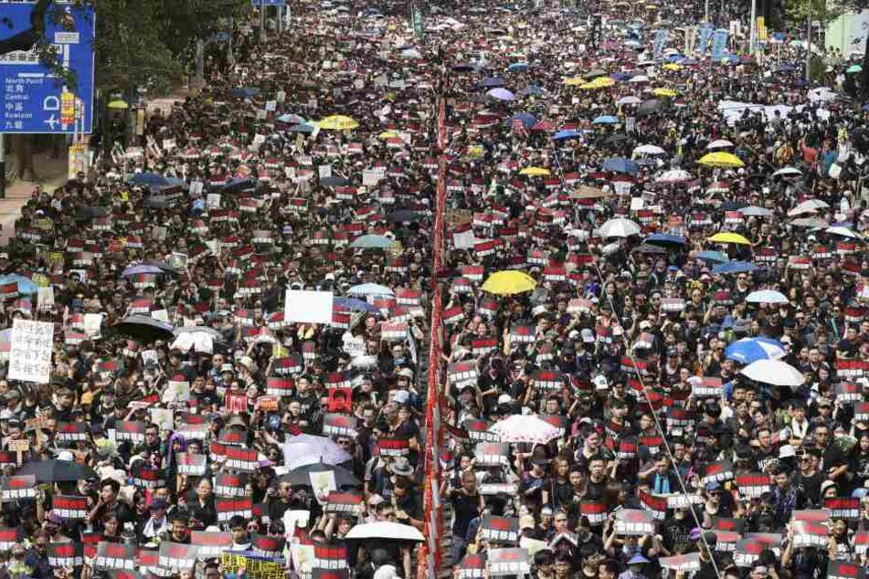 Menschen mit Regenschirmen und Protestschildern sind in Hongkong auf den Straßen.