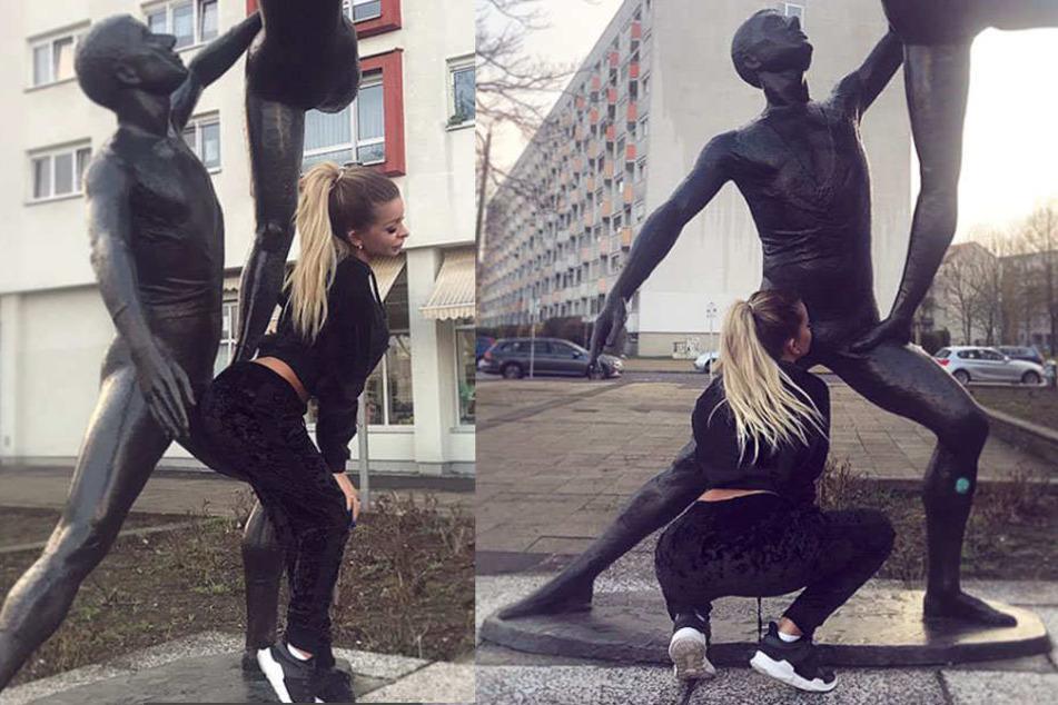 """Mit einem Blowjob und ihrem heißen Hinterteil """"beglückt"""" die Youtuberin eine Statue am Bayerischen Bahnhof."""