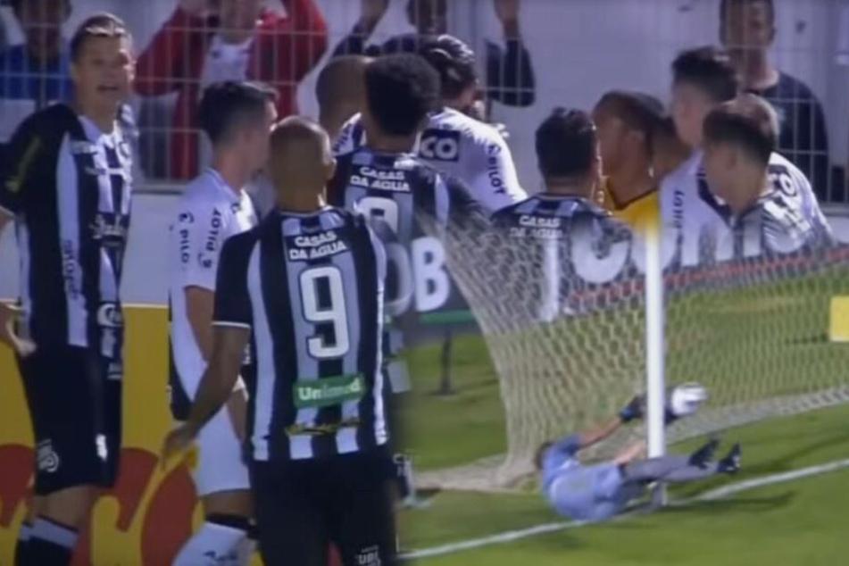 Fußball kurios: Torhüter pariert Ball von außerhalb des Feldes!