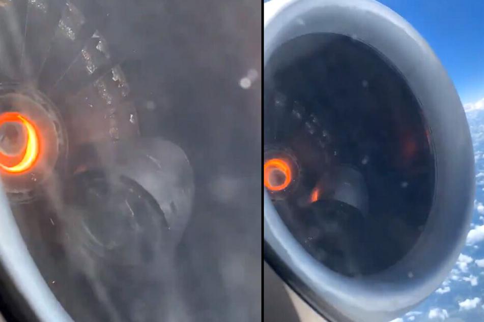 Die Aufnahmen der Passagiere zeigen das Triebwerk, dass zu glühen scheint.