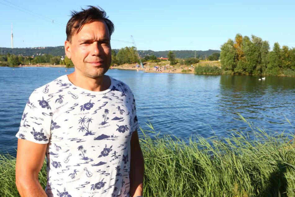 Martin Riedel (44) betreibt die Wasserskianlage an der Kiesgrube in Leuben.