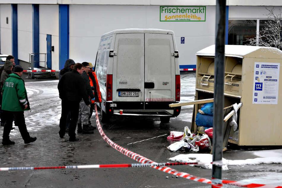 2011 wurde in diesem Kleidercontainer in Schwarzenberg ein toter Säugling gefunden