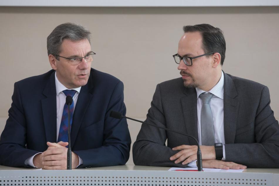 Der rekordverdächtige Haushaltsentwurf steht: CDU-Fraktionschef Frank Kupfer  (54, l.) und sein SPD-Amtskollege Dirk Panter (42) haben sich geeinigt.