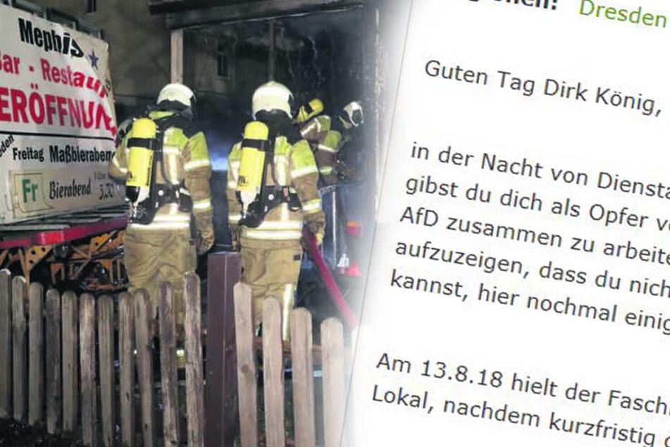 """Brandanschlag auf Löbtauer Lokal """"Mephisto"""": Bekennerschreiben aufgetaucht"""