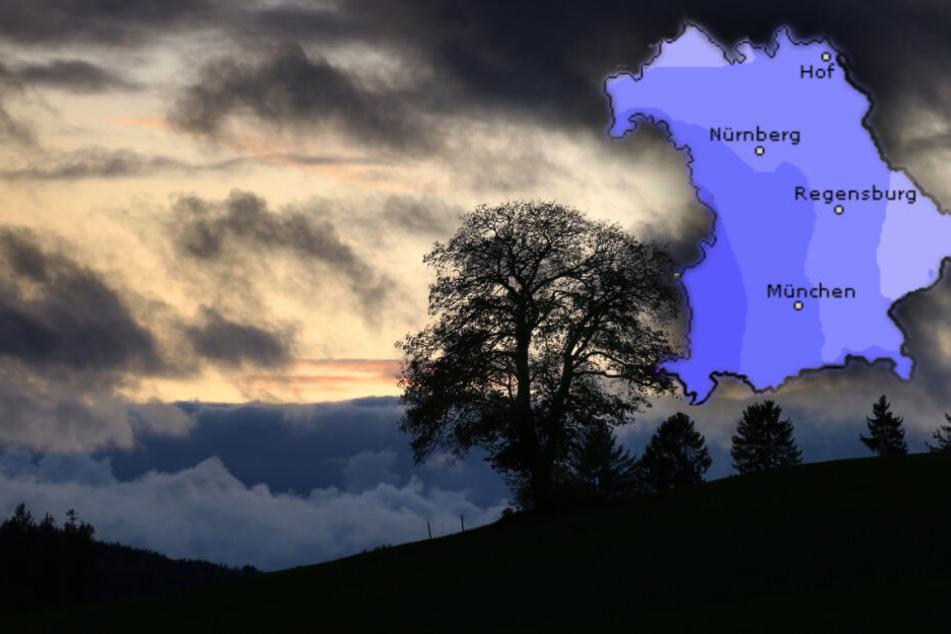 Zum Ende der Woche kommt Regen nach Bayern, mancherorts kann es schneien. (Bildmontage)