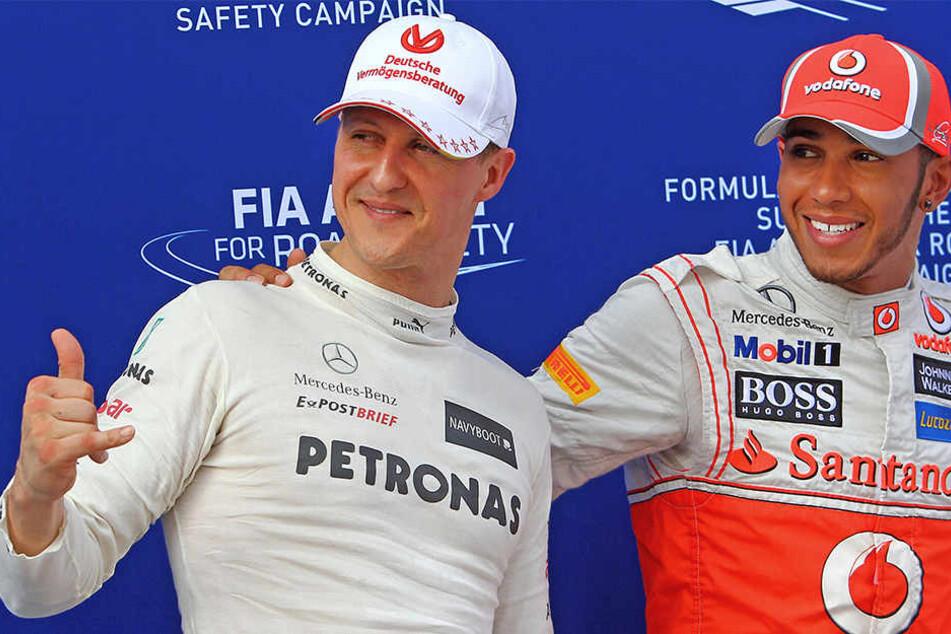 Zwei Formel-1-Champions unter sich: Michael Schumacher (l.) und Lewis Hamilton.