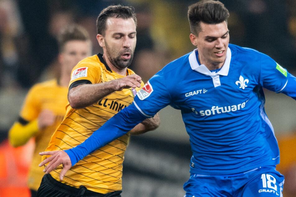 In der Vorsaison trafen Mathias Honsak (r.) und seine Darmstädter Teamkollegen noch in Liga 2 auf die Dynamo aus Dresden.