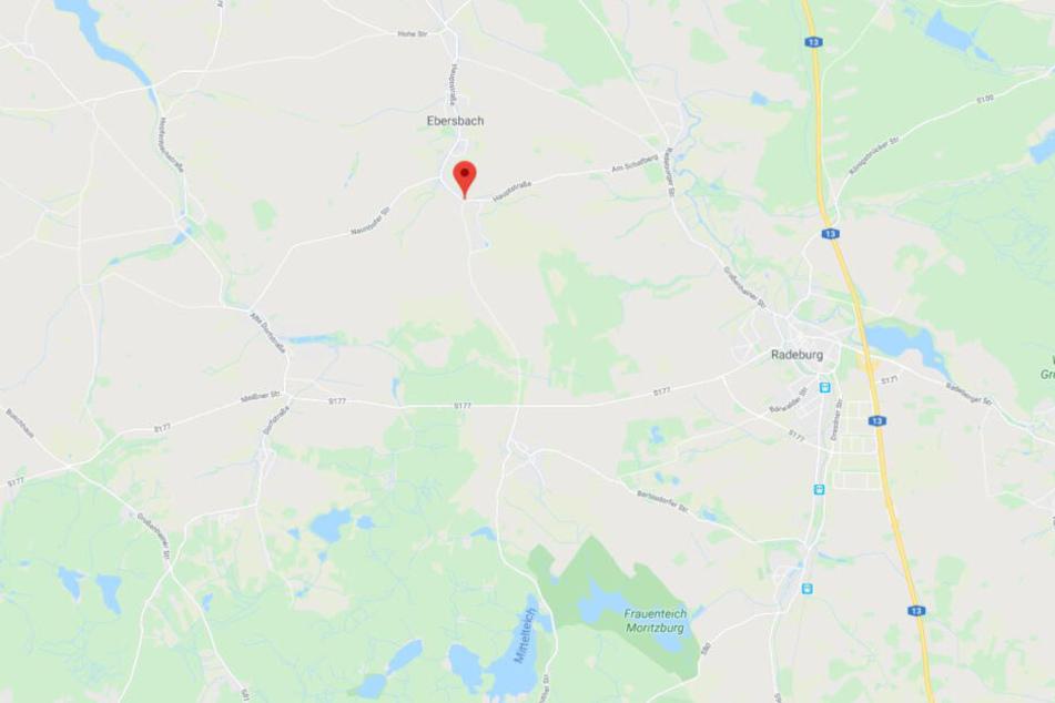 Ungefähr an dieser Stelle der K8534 zwischen Ebersbach und Rödern geschah der Unfall.