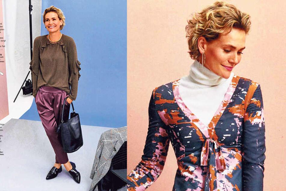 """Satinhose und Rüschen-Shirt - Christine Beutmann (38) posiert in der Zeitschrift  """"Burda"""" für Hobbyschneiderinnen."""