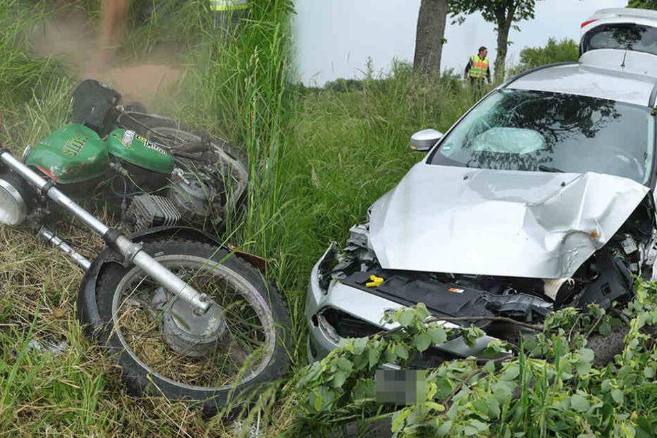 Ford und Simson stoßen bei Wilsdruff zusammen: Mopedfahrer (16) schwer verletzt