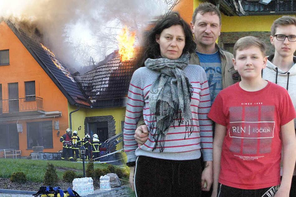 Einen Tag nach Brandkatastrophe: Hilfsaktion für Familie