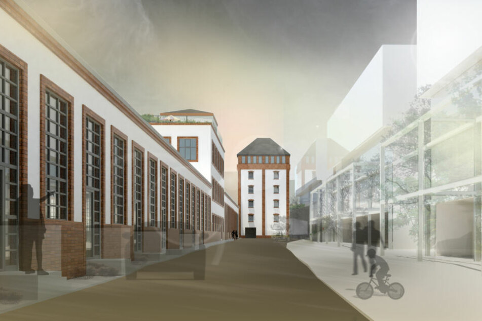 Moderne trifft Tradition: So soll das Wohnviertel zwischen Abfüllanlage (l.) und Neubau aussehen.