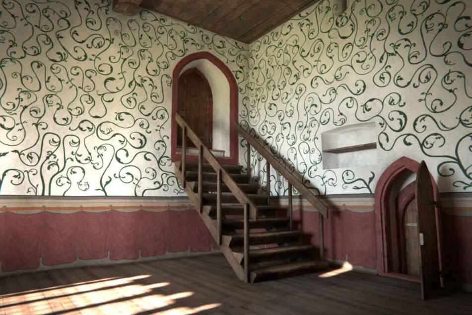 Alles Trick: Dieses Zimmer existiert in Wahrheit gar nicht mehr. Aber die  virtuelle Rekonstruktion ermöglicht einen plastischen Eindruck.