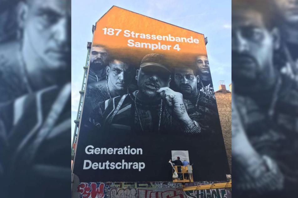 Werbung der 187 Strassenbande an einer Hauswand in Berlin.